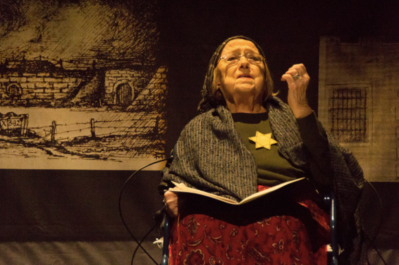 "Elizabeth Elkin Weiss as the Second Flower in Yashinsky's Shoah play ""Lilies Among Thorns,"" March 2014, Detroit Opera House."